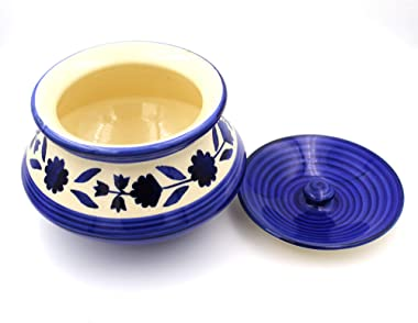 POTZO Ceramic Handi with Lid, Mughal Blue, 750 ML, Mughal Curd and Sauce Pot, Hand Painted for Serving Dal, Curry, and Dining