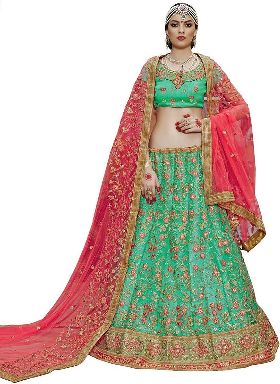 DesiButik's Wedding Wear Pleasant Light Rama Net Lehenga