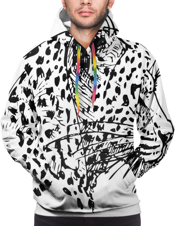Men's Hoodies Sweatshirts,Hand Drawn Interpretation of Pedestrians in Times Square with Busy City Cartoon