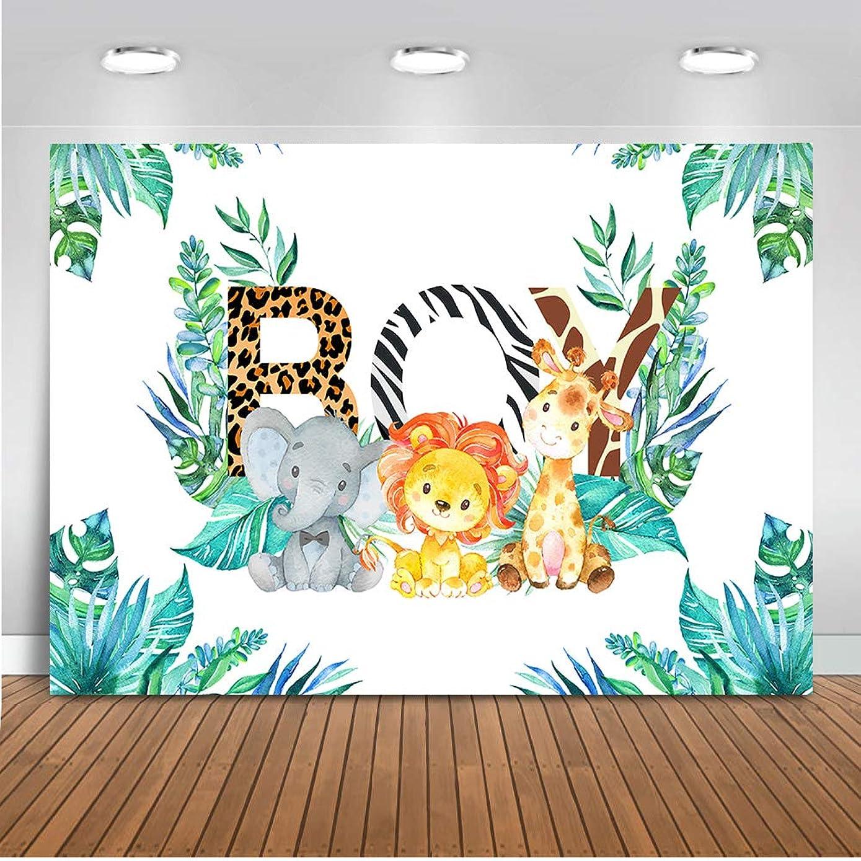 Mehofoto Safari Baby Shower Backdrop Jungle Animals Boy Photography Background 7x5ft Vinyl Safari Boy Baby Shower Party Banner Backdrops