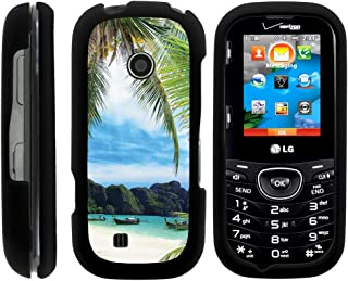 TurtleArmor | Compatible with LG Cosmos 2 Case VN251 | LG Cosmos 3 Case VN251S [Slim Duo] Fitted Ultra Slim Hard Cover Rubberized Snap On Shell Protector on Black Beach - Tropical Beach