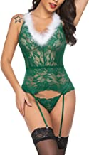 Avidlove Red Christmas Lingerie for Women Lace Bodysuit with Garter Belt Sexy Nightwear Outfit(NO Stockings)