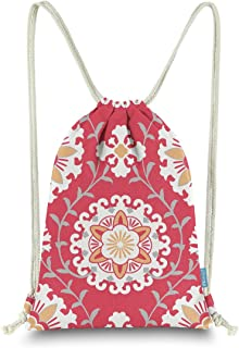 Miomao Drawstring Backpack Gym Sack Pack Dahlia Style Floral Sinch Sack Canvas String Bag Beach Cinch Pack For Men & Women...