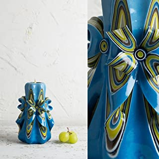 Candela Decorativa Intagliata - Idee Regalo in Blu E Giallo - Decorazione Artigianale Per La Casa - EveCandles