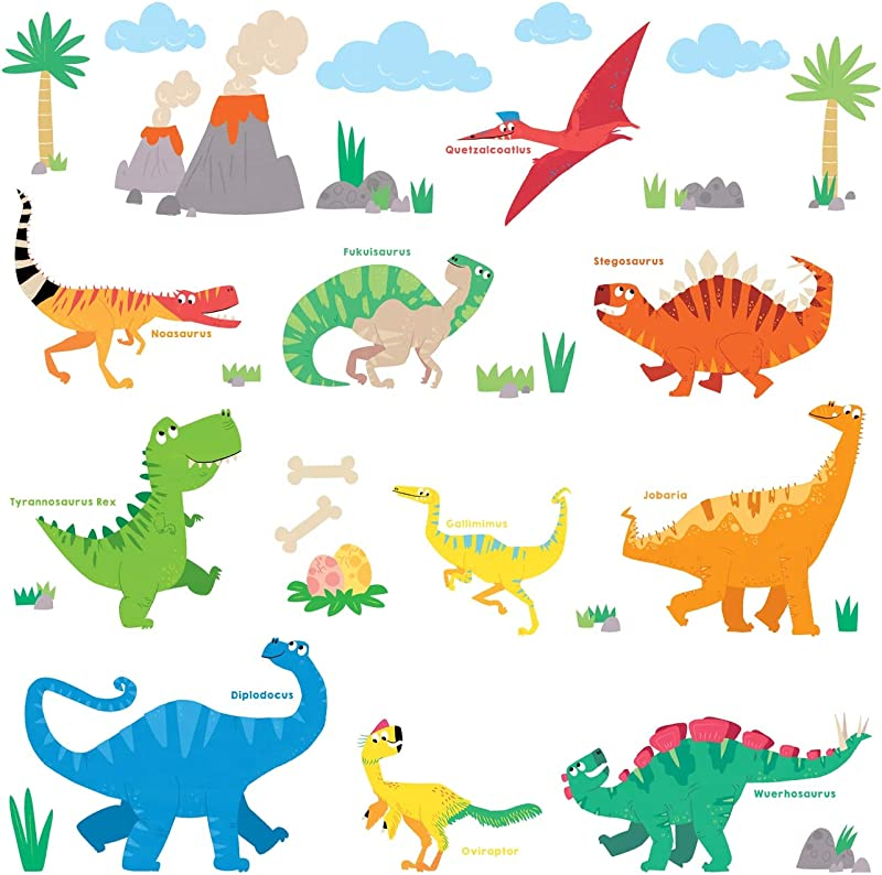 Decowall DS 8032 Colourful Dinosaur Kids Wall Stickers Wall Decals Peel And Stick Removable Wall Stickers For Kids Nursery Bedroom Living Room B Small