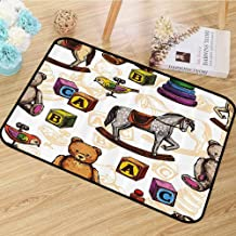 Vintage Decor Area Rug Retro Style Toys Rocking Horse Teddy Bear and Bird Illustration Print Anti-Static W55 x L63 Brown and Grey