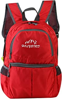HOLYBIRD Foldable Lightweight Backpack Travel Casual Outdoor Bag Waterproof for Sport Travel Hiking School (red)