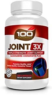 100 Naturals Joint 3X Triplex Joint Supplement with Glucosamine, Chondroitin Sulfate and MSM For Healthy Joints and Connective Tissue and Strong Joint Cartilage