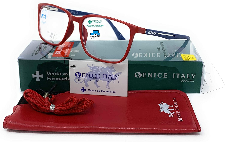 VENICE EYEWEAR OCCHIALI | New Model Gafas de lectura con filtro bloqueo luz azul para gaming, ordenador, móvil. Anti fatiga STEEL professional unisex venice (Rojo, 1,00)