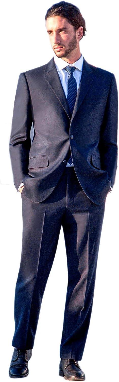 Zeratova Men's Modern Fit 2 Piece Italian Suit Two Button Wool Blazer & Trousers Smart Party Formal Suits
