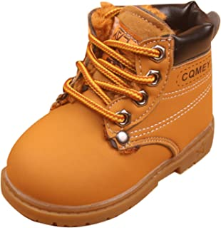 Gaorui Boys' Cute Winter Fur Ankle Snow Boots Leather Casual Shoes