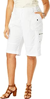 Roamans Women's Plus Size Cargo Shorts with Adjustable Bungee Hem
