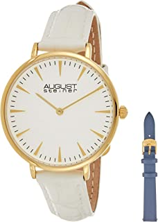 August Steiner Women's White Dial Leather Band Watch - AS8206YG-BX