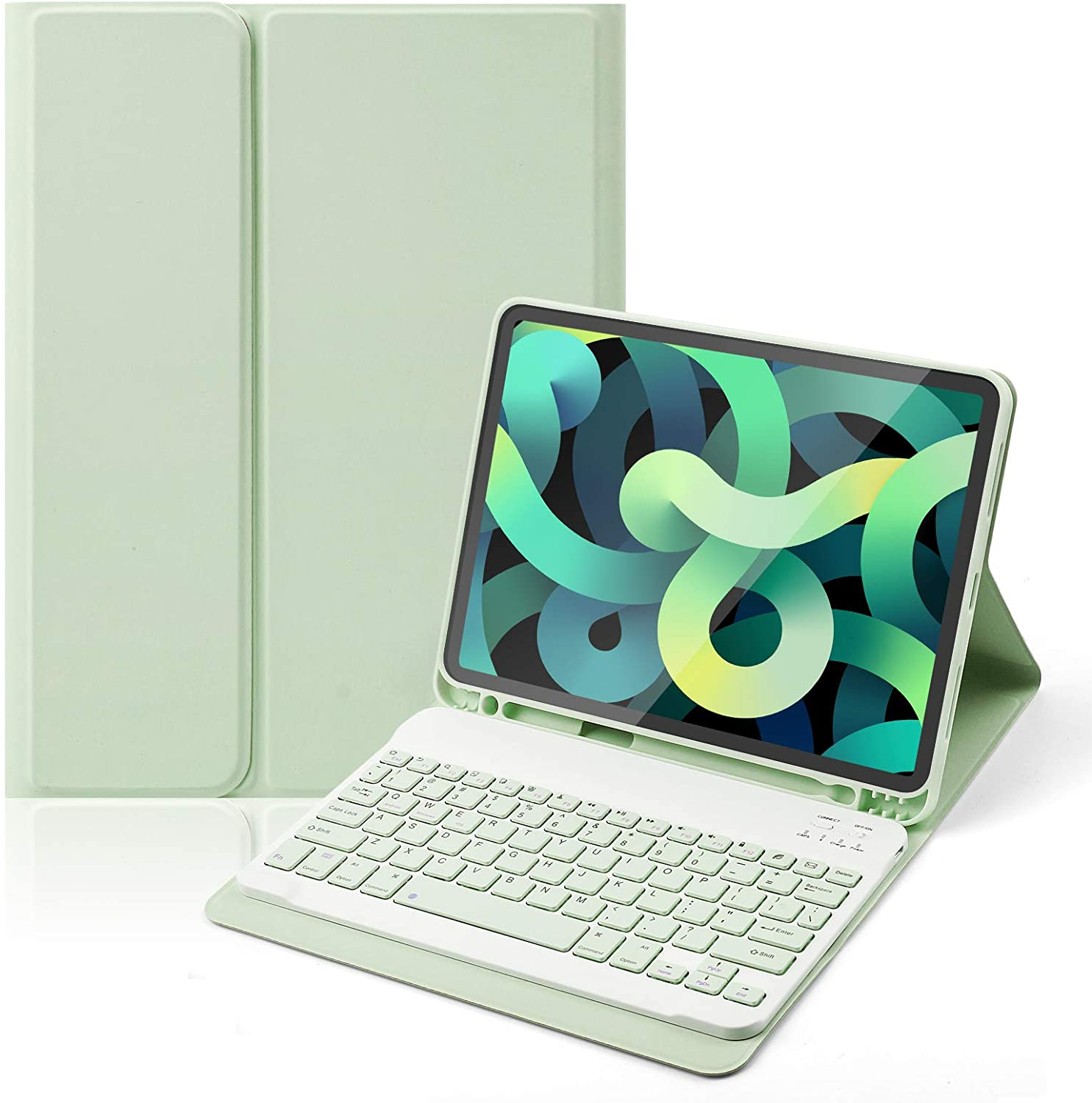 iPad Air 4th Generation 10.9 Inch Keyboard Case 2020-LUCKYDIY Wireless Keyboard Cover with Pencil Holder Keyboard Case for iPad Air 4th Gen with Magnetic Detachable (Green)