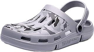COOPCUP Zuecos de los hombres zapatos de jardín EVA sandalia verano transpirable zueco ligero para la playa, color Negro, ...