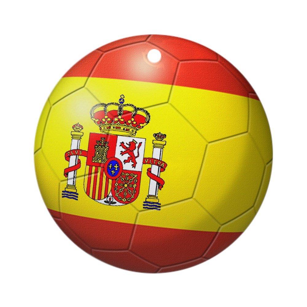 CafePress – adorno de balón de fútbol de bandera de España (redondo) – redondo vacaciones Navidad adorno: Amazon.es: Hogar
