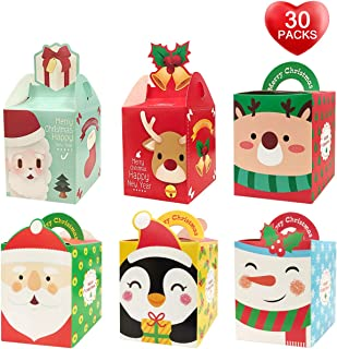 Christmas Candy Boxes, 30 Pack Gift Boxes of 6 Styles,Cute and Small Gift Boxes for Candy, Cookies, Cake with Lids, Christmas Trees Decoration