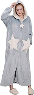 Womens Plush Fleece Robe with Hood, Ladies Plus Size Robes Warm Nightgown Bathrobe Soft Fleece Sleepwear Housecoat