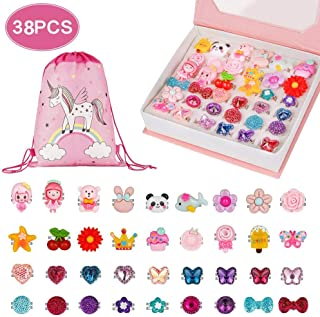BAOQISHAN 38PCS Little Girl Lovely Jewel Rings in Box Unicorn Backpack Jewelry Set Adjustable No Duplication Girls Play Dress Up Pretend Play Dress Up Rings Party Favor(36Ring+Backpack+Gift Box)