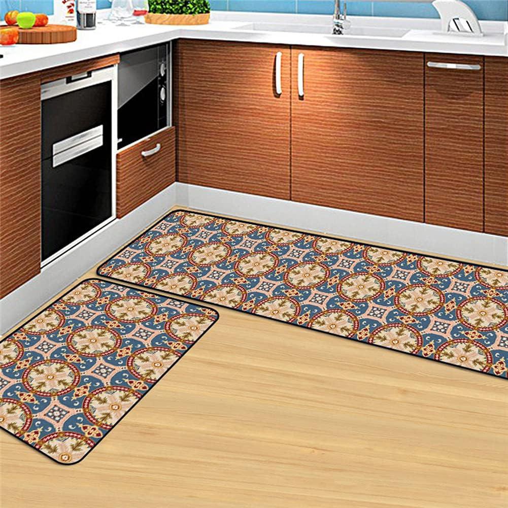 GYMS Kitchen Area Max 74% OFF Rug Non-Slip Set Max 66% OFF Floral Retro C Blue Moroccan