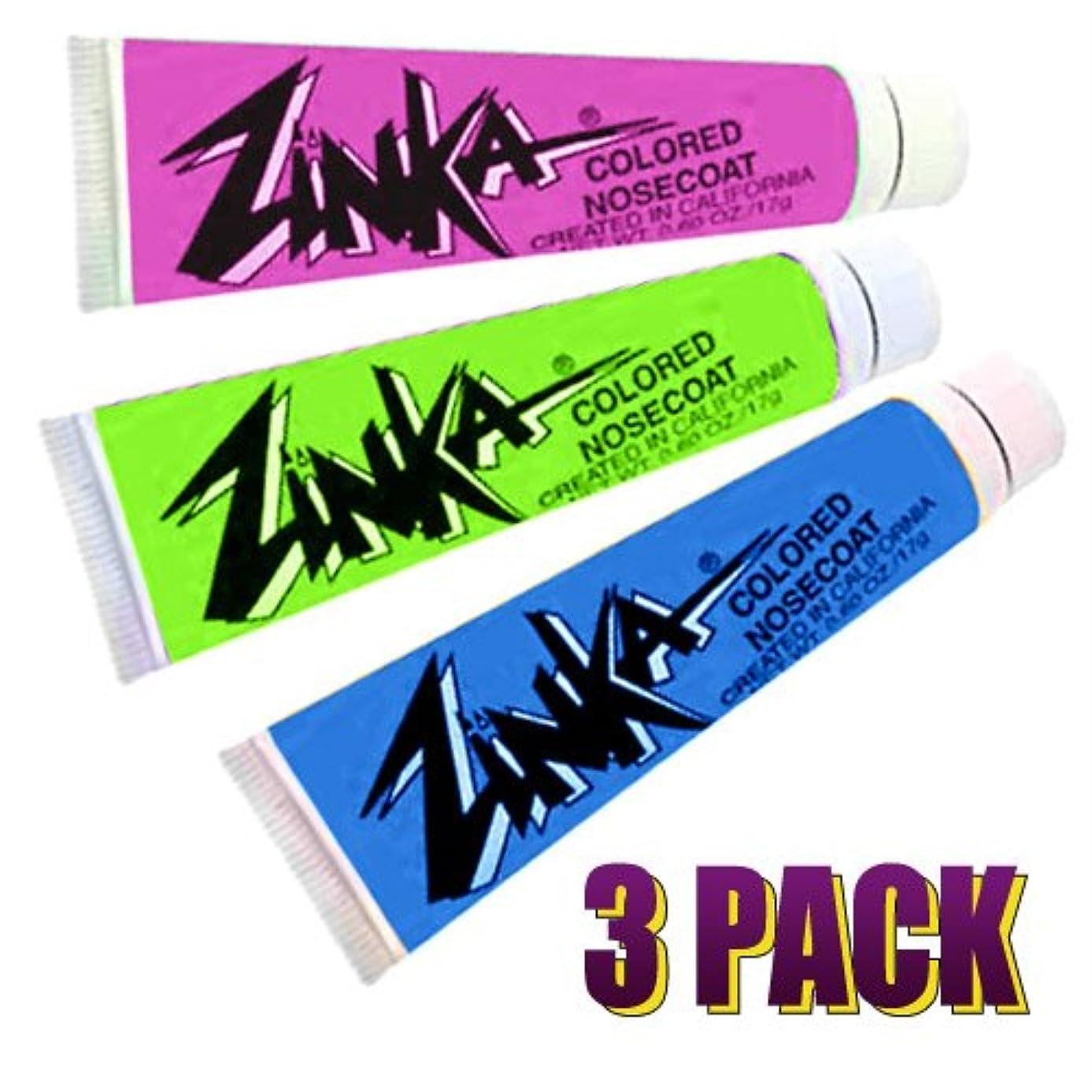 Zinka Colored Sunblock Zinc Waterproof Nosecoat 3 Pack Bundle .6oz Tube - Blue Pink Green utck7475695