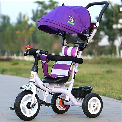 buen precio Great Bicicleta de de de Triciclo para Niños 1-3-5 años Rueda de Titanio Cochecito de bebé con toldo de Tela Bicicleta para bebés (Energy A++) (Color   púrpura)  Envío 100% gratuito