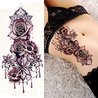 Purple Rose Jewelry Water Transfer Tattoo Stickers Women Body Chest Art Temporary Tattoo Lady Waist Bracelet Flash Tatoos (Color : Purple)