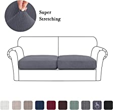 Jacquard Sofa Seat Slipcover Set of 2, High Stretch Spandex Couch Cushion Cover Coats, Elastic Furniture Protector for Living Room (2 Pieces Cushion Covers, Gray)