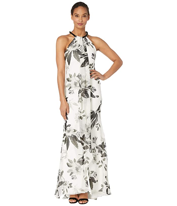 Beaded Neck Floral Gown (Cream Multi) Women's Dress