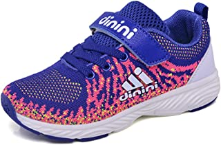Kids Tennis Running Shoes Girls Boys Knit Lightweight Sneakers Mesh Athletic Walking Shoes Strap Sport Outdoor Trail Casua...