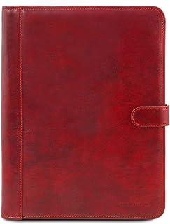 Tuscany Leather Adriano Portadocumenti in pelle chiusura con bottone Rosso