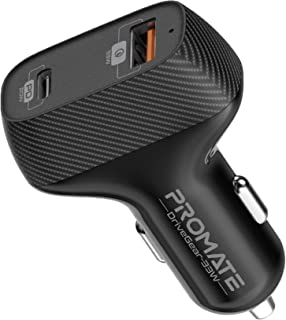 Promate USB-C Car Charger, Premium 33W Dual Port Car Adapter with 20W USB Type-C Power Delivery and Ultra-Fast Qualcomm QC...