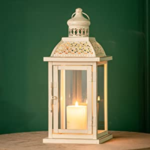 DECORKEY Decorative Candle Lantern, Hanging Lantern with Clear Glass, Vintage Metal Tabletop Lantern, Candle Holders for Outdoor Patio Wedding Party Decor (Square)