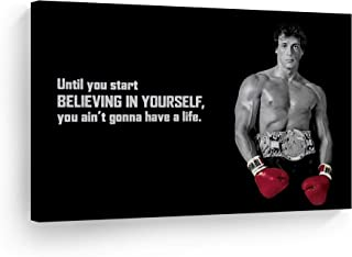Smile Art Design Rocky Balboa Wall Art Canvas Print Motivational Quote Believing in Yourself Boxing Sylvester Stallone Liv...