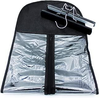 HBEDU Hair Extension Holder Storage Bag Strong Hanger Clip Case Dust-proof Portable Suit with Transparent Zip Up Closure- Lightweight Waterproof (Black)