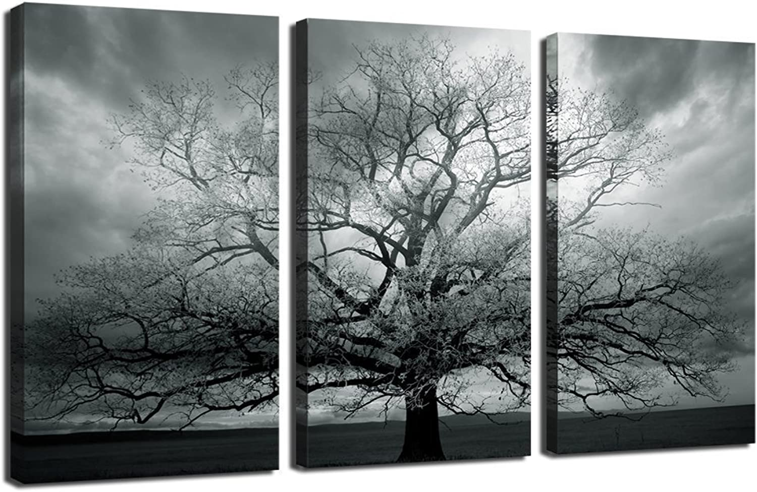 Sechars - Winter Large Tree Photography Print,Abstract Canvas Artwork,Stretched and Framed,Landscape Canvas Wall Art,Each Panel 16x32inches Wall Picture Ready to Hang