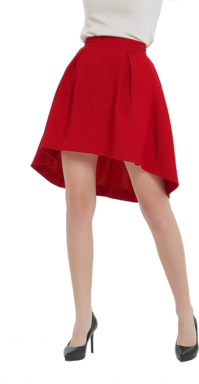 Tronjori Womens A Line Dovetail Pleated Midi Skirt