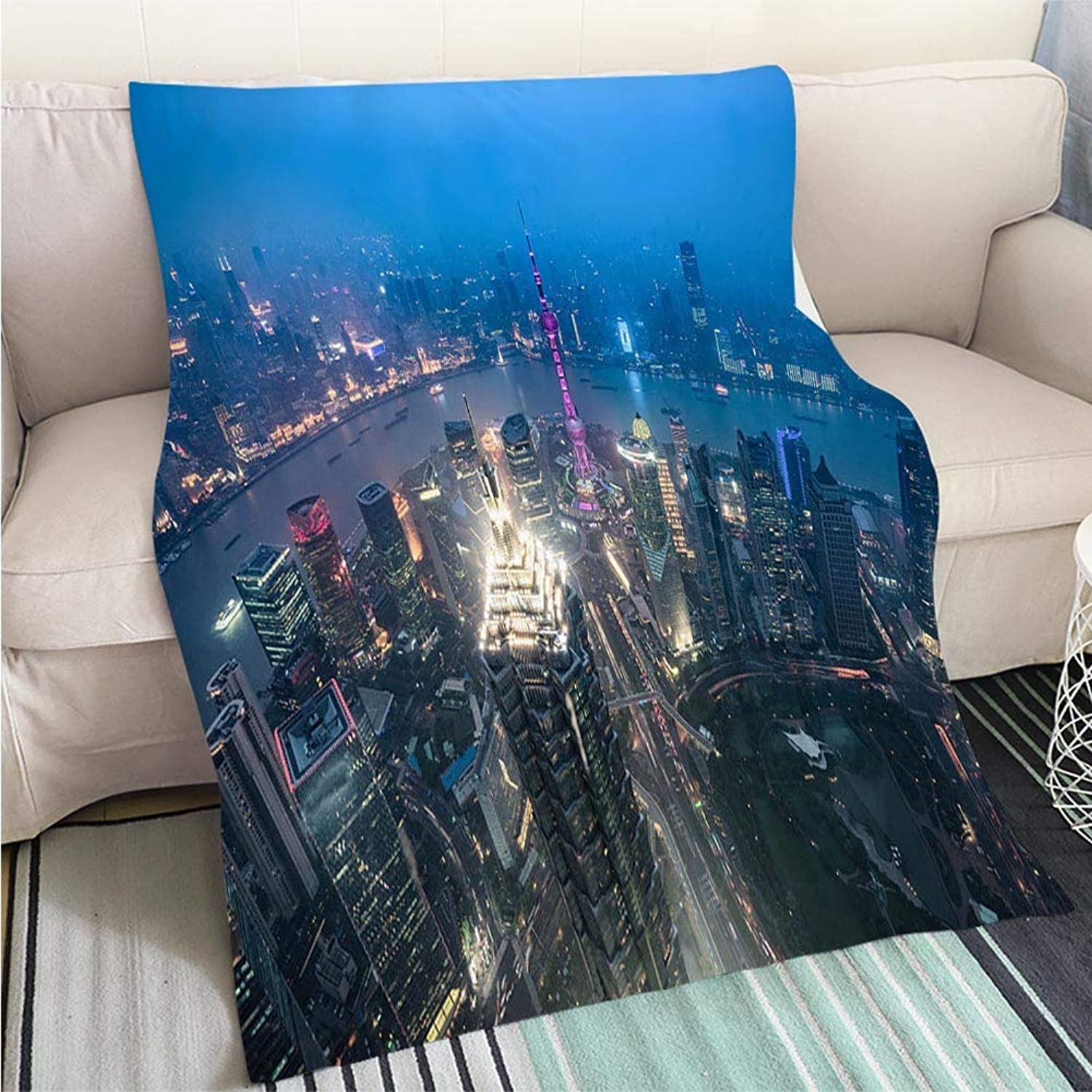 Art Design Photos Cool Quilt Night View of The Bund Shanghai Hypoallergenic Blanket for Bed Couch Chair