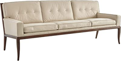 Amazon.com: Global Views Gorgeous Wood Beige Leather Sofa ...