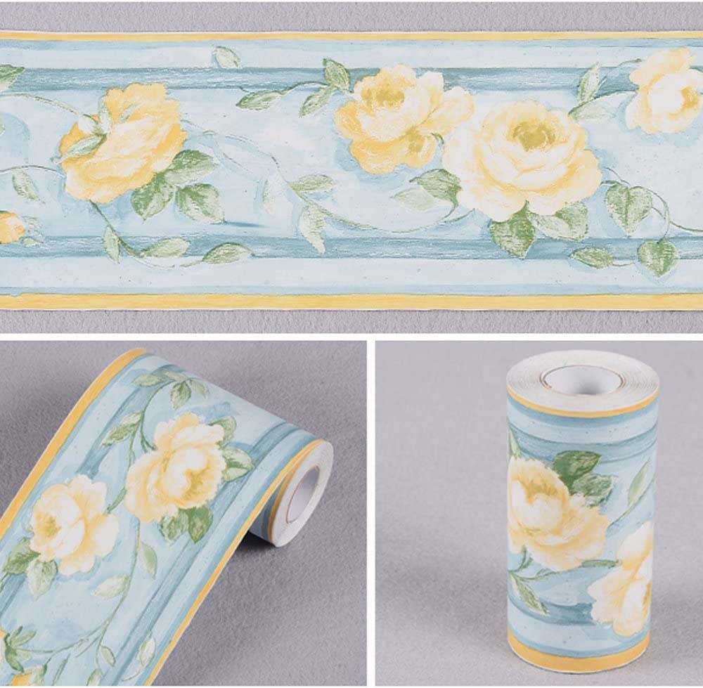 Free shipping / New Yifely Yellow Peony Ranking TOP14 Flower Wallpaper B Border Wall Self-adhesive