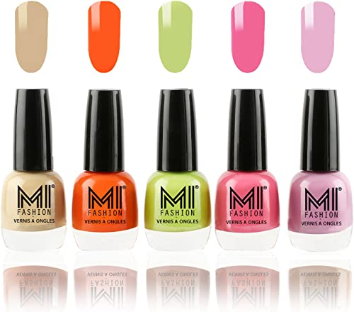 MI Fashion® Trendy Colors Nail Polish Enamel Combo of 5 - Nude Beige, Candy Coral, Lime Green, Doll Pink, Light Lilac - 12ml each product image