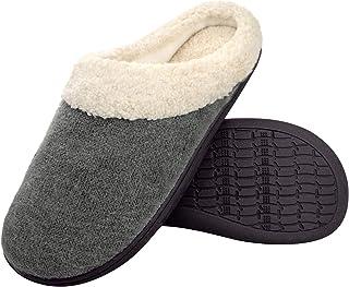 Hoswo Men's Slippers Comfort Slip On Memory Foam Anti-Slip Sole Indoor & Outdoor Cozy Fuzzy Wool Fleece Winter House Shoes