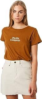 Thrills Women's Strength Band Tee Crew Neck Short Sleeve Cotton Linen Brown