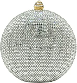 MDSQ Flagon-shaped Clutch Creative Fashion Round Diamond Evening Bag Lady Girl Chain Shoulder Wedding Party Gift Bag 15 * 13 * 6cm Fashion personality (Color : Silver)