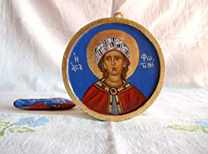 St Photini the Samaritan woman byzantine icon- Hand painted round wooden Photine