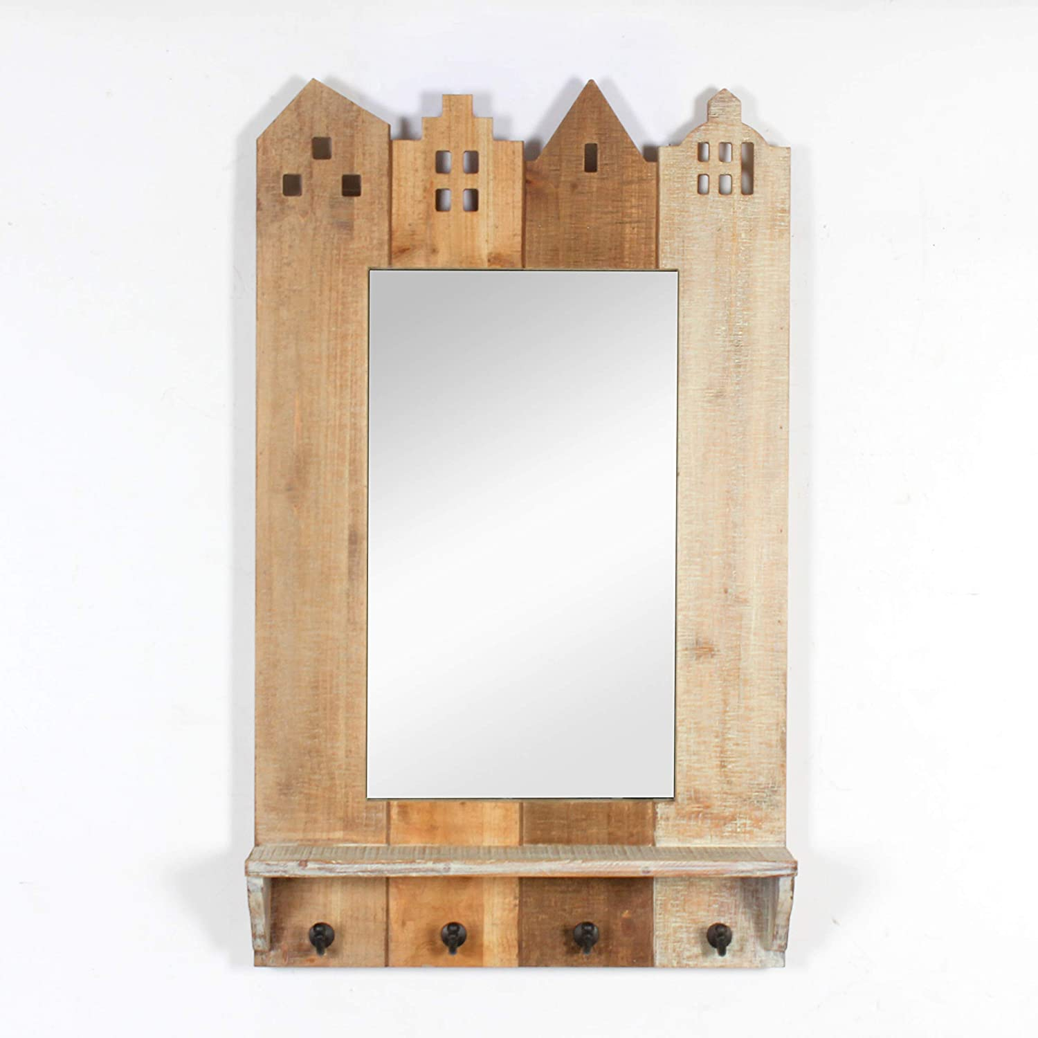 RHArt – Buildings Framed Wall Mirror with Shelf and 4 Hooks for Home Decor and Organization