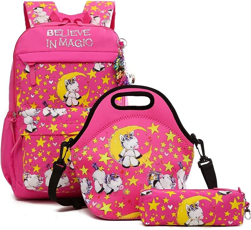 Debbieicy Cute Unicorn Lightweight Princess Backpack Kids School Bookbag With Lunch Bag Pen Bag For Preschool Kindergarten Elementary Girls Rose Set