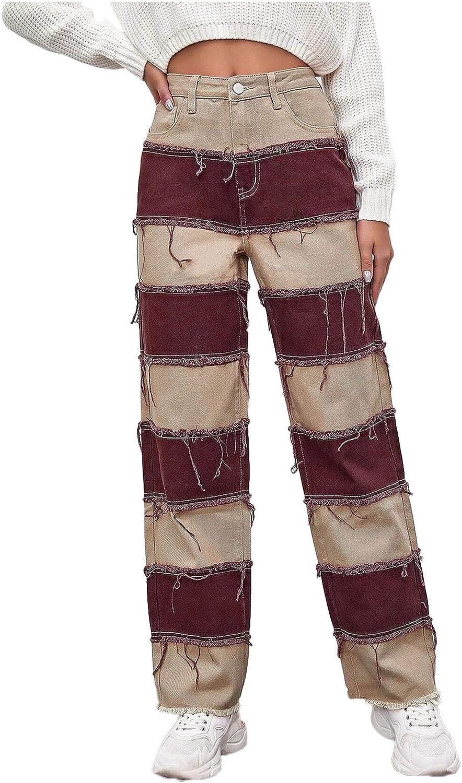 wodceeke Women's Fashion Street Stitching Jeans High Waist Straight-Leg Denim Pants