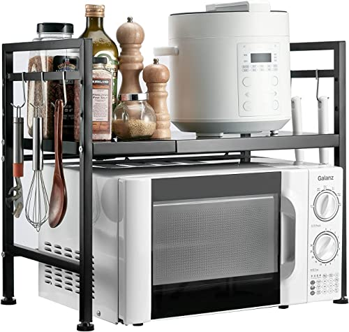 popular KITCSTI Expandable Carbon Steel Microwave Oven Rack Kitchen Countertop Storage Rack Kitchen Utensils Tableware Storage Counter Oven/Toaster online Bracket with 2 outlet online sale Layers with 6 Hooks outlet online sale