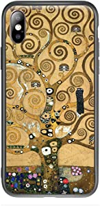Compatible with iPhone X/iPhone Xs Case Cute Art Case with Design Khaki Aesthetic Famous Fancy Poetic Blooming Creative Stunning Vivid Trippy Symbol with Screen Protector(Tree of Life by Gustav Klimt)